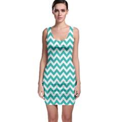 Turquoise & White Zigzag Pattern Sleeveless Bodycon Dress