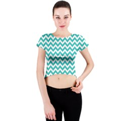 Turquoise & White Zigzag Pattern Crew Neck Crop Top