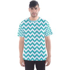 Turquoise & White Zigzag Pattern Men s Sport Mesh Tee