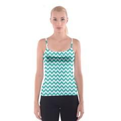 Turquoise & White Zigzag Pattern Spaghetti Strap Top