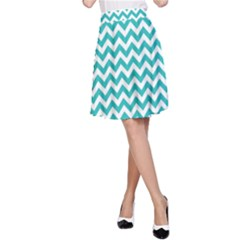 Turquoise & White Zigzag Pattern A Line Skirt