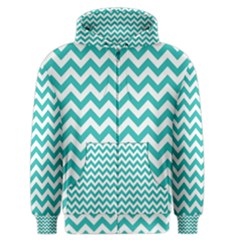 Turquoise & White Zigzag Pattern Men s Zipper Hoodie