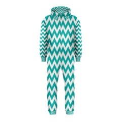 Turquoise & White Zigzag Pattern Hooded Jumpsuit (kids)
