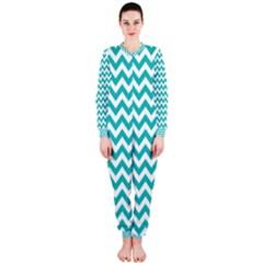 Turquoise & White Zigzag Pattern Onepiece Jumpsuit (ladies)