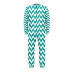 Turquoise & White Zigzag Pattern Onepiece Jumpsuit (kids)
