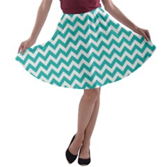 Turquoise & White Zigzag Pattern A-line Skater Skirt by Zandiepants
