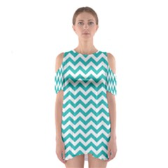 Turquoise & White Zigzag Pattern Cutout Shoulder Dress