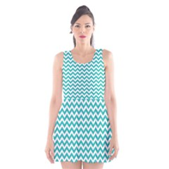 Turquoise & White Zigzag Pattern Scoop Neck Skater Dress
