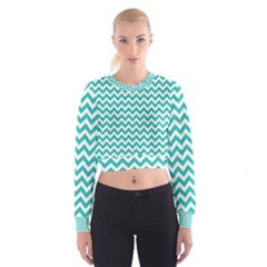 Turquoise & White Zigzag Pattern Women s Cropped Sweatshirt