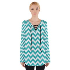 Turquoise & White Zigzag Pattern Women s Tie Up Tee