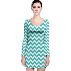 Turquoise & White Zigzag Pattern Long Sleeve Velvet Bodycon Dress