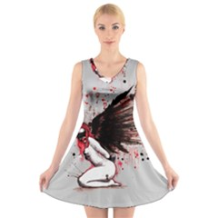 Dominance V-Neck Sleeveless Skater Dress by lvbart