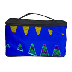 Colorful Wave Blue Abstract Cosmetic Storage Cases by BrightVibesDesign