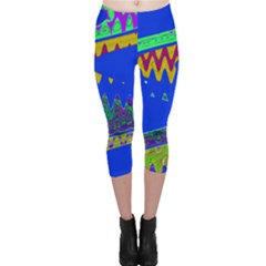 Colorful Wave Blue Abstract Capri Leggings  by BrightVibesDesign