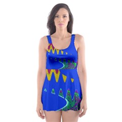 Colorful Wave Blue Abstract Skater Dress Swimsuit by BrightVibesDesign