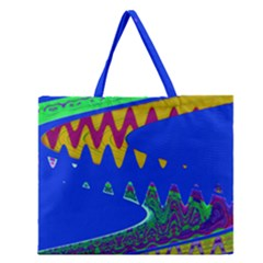 Colorful Wave Blue Abstract Zipper Large Tote Bag by BrightVibesDesign