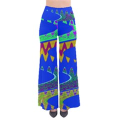 Colorful Wave Blue Abstract Pants by BrightVibesDesign