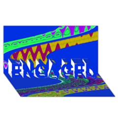 Colorful Wave Blue Abstract Engaged 3d Greeting Card (8x4)