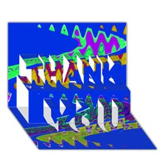 Colorful Wave Blue Abstract Thank You 3d Greeting Card (7x5)  by BrightVibesDesign