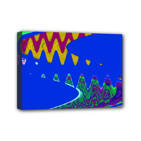 Colorful Wave Blue Abstract Mini Canvas 7  X 5  by BrightVibesDesign