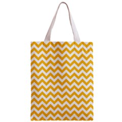 Sunny Yellow & White Zigzag Pattern Zipper Classic Tote Bag by Zandiepants