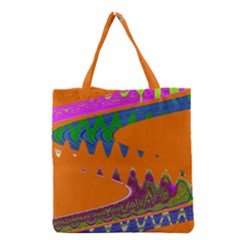 Colorful Wave Orange Abstract Grocery Tote Bag by BrightVibesDesign