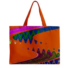 Colorful Wave Orange Abstract Zipper Mini Tote Bag by BrightVibesDesign