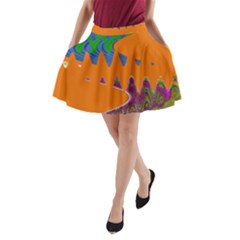 Colorful Wave Orange Abstract A-Line Pocket Skirt by BrightVibesDesign