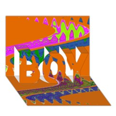 Colorful Wave Orange Abstract Boy 3d Greeting Card (7x5)