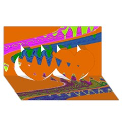 Colorful Wave Orange Abstract Twin Hearts 3d Greeting Card (8x4)