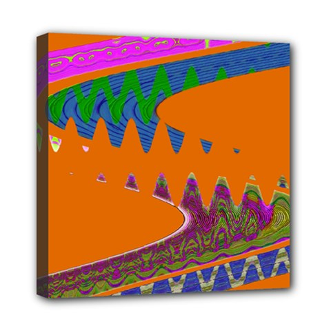 Colorful Wave Orange Abstract Mini Canvas 8  X 8  by BrightVibesDesign