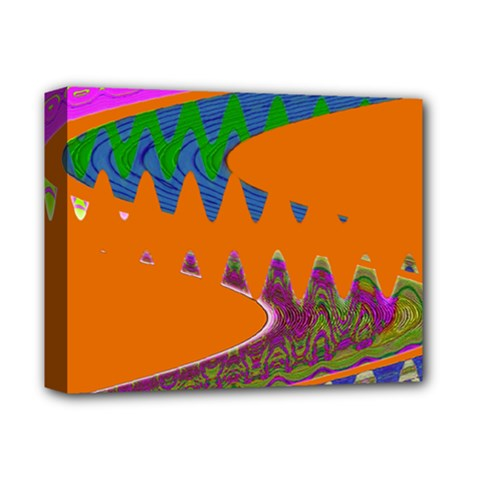 Colorful Wave Orange Abstract Deluxe Canvas 14  X 11  by BrightVibesDesign