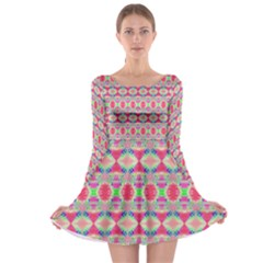 Pretty Pink Shapes Pattern Long Sleeve Skater Dress by BrightVibesDesign