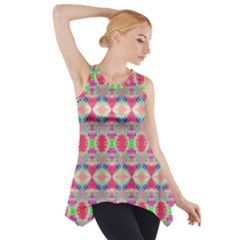Pretty Pink Shapes Pattern Side Drop Tank Tunic by BrightVibesDesign