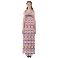 Pretty Pink Shapes Pattern Empire Waist Maxi Dress by BrightVibesDesign