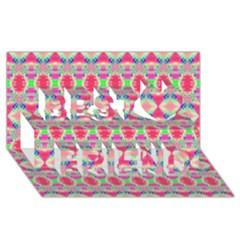 Pretty Pink Shapes Pattern Best Friends 3d Greeting Card (8x4)