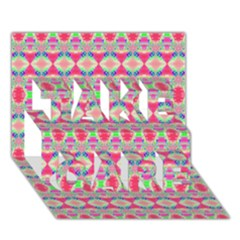 Pretty Pink Shapes Pattern Take Care 3d Greeting Card (7x5)  by BrightVibesDesign