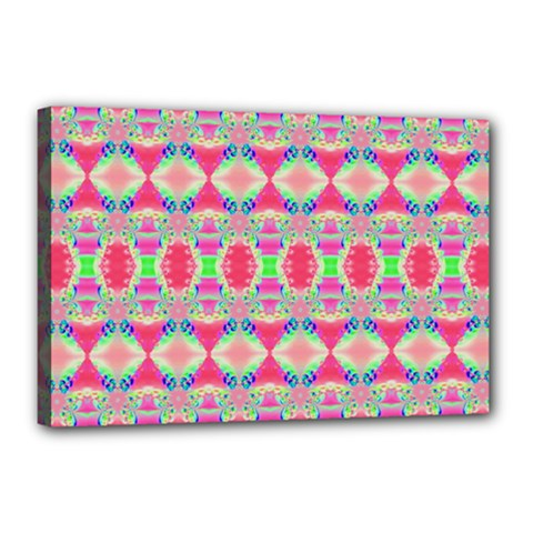 Pretty Pink Shapes Pattern Canvas 18  X 12  by BrightVibesDesign