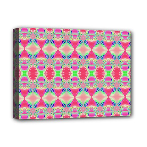 Pretty Pink Shapes Pattern Deluxe Canvas 16  X 12   by BrightVibesDesign