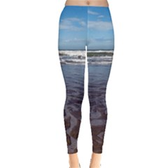 Ocean Surf Beach Waves Leggings  by CrypticFragmentsColors