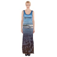 Ocean Surf Beach Waves Maxi Thigh Split Dress by CrypticFragmentsColors