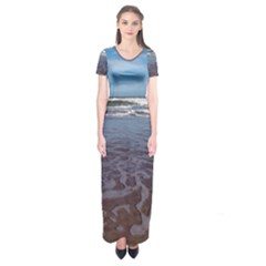 Ocean Surf Beach Waves Short Sleeve Maxi Dress by CrypticFragmentsColors