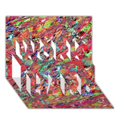 Expressive Abstract Grunge Work Hard 3d Greeting Card (7x5)  by dflcprints
