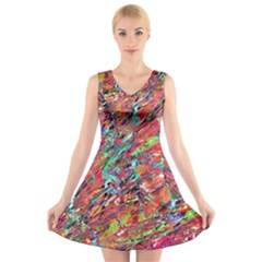 Expressive Abstract Grunge V-Neck Sleeveless Skater Dress by dflcprintsclothing