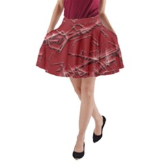 Thorny Abstract,red A Line Pocket Skirt