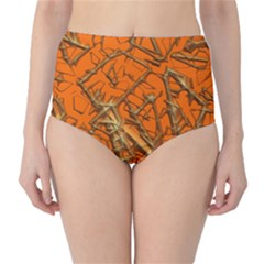 Thorny Abstract, Orange High Waist Bikini Bottoms by MoreColorsinLife