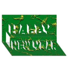 Thorny Abstract,green Happy New Year 3d Greeting Card (8x4)  by MoreColorsinLife