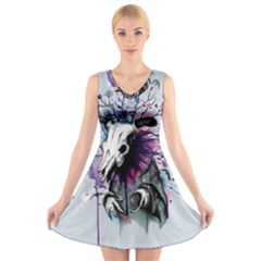 From Nature We Must Stray V Neck Sleeveless Skater Dress