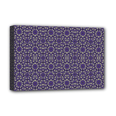 Stylized Floral Check Deluxe Canvas 18  X 12   by dflcprints