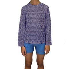 Stylized Floral Check Kid s Long Sleeve Swimwear
